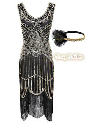 Black Gold Ladies 1920s Roaring 20s Flapper Gatsby Costume Sequins Outfit Dress - Roaring 20 Outfits