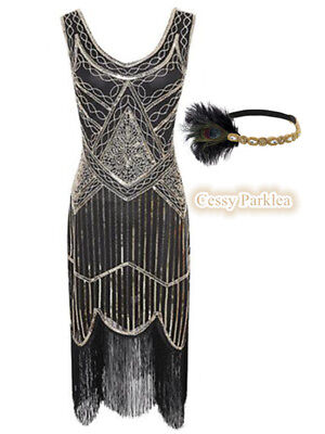 Black Gold Ladies 1920s Roaring 20s Flapper Gatsby Costume Sequins Outfit Dress (Roaring 20s Outfits)