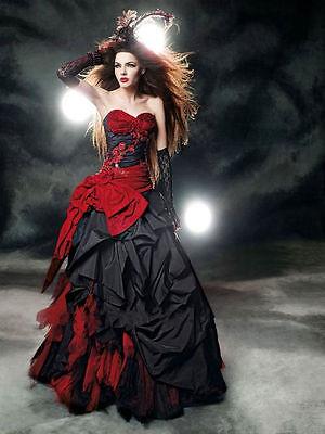Neu Rot Schwarz Taffeta Brautkleider Gothic Halloween Hochzeitskleid Ballkleid