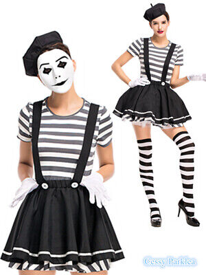 H2 Ladies Mesmerizing Mime Costume French Artist Clown Circus Fancy Dress Outfit - Mime Outfits