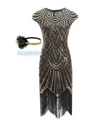 Deluxe Ladies 1920s Roaring 20s Flapper Gatsby Costume Sequins 6-16 Black Gold