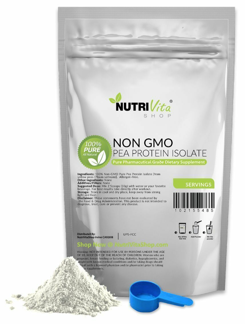 PURE 100 PEA PROTEIN PRO ISOLATE NONGMO HIGH PROTEIN VEGAN USP GRADE USA