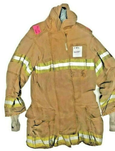 42x35 42T Securitex Firefighter Brown Turnout Jacket Coat with Yellow Tape J862