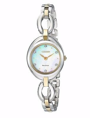 Citizen Eco-Drive Women's EX1434-55D Silhouette Crystal Markers Two-Tone Watch