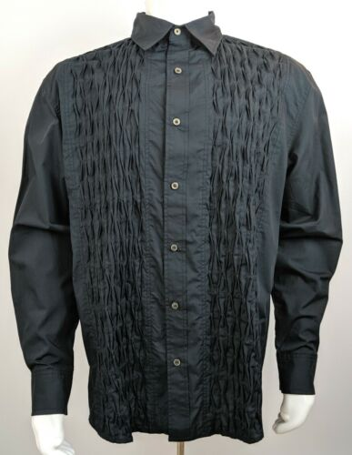 Pelle Pelle Premium Ruffled Button Front Tuxedo Shirt Black Men