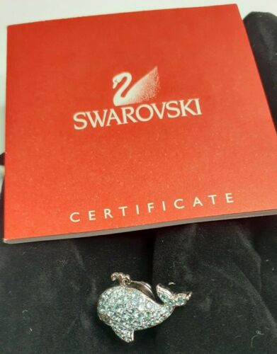 Swarovski Blue Crystal Whale Brooch with Pouch COA