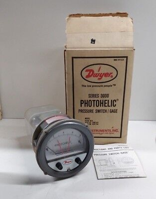 New Old Stock Dwyer 3000 Series Photohelic Pressure Switchgage 3008