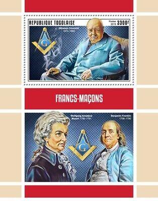 PERSONALITY TOGO MOZART  franc-maçonnerie SHEET MINT MNH ** MASONIC FREEMASONRY