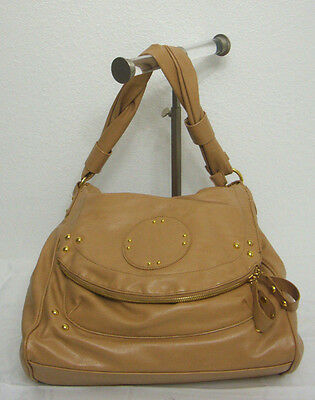 Beige Hobo Style Large Handbag Gold Studded Faux Leather Zippered Fold over Flap ()