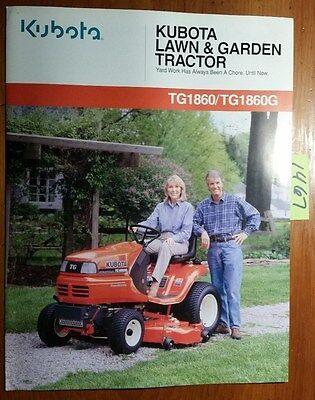 Kubota Tg1860 Tg1860g Lawn Garden Tractor Brochure 4169-01-ca 499