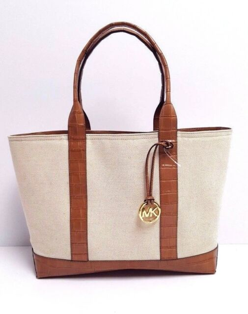 Michael Kors Womens Brianne Ecru Canvas Large Tote Bag Purse ...