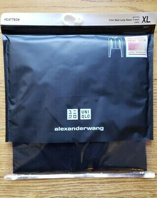 sz XL UNIQLO WOMEN HEATTECH CREW NECK LONG-SLEEVE T-SHIRT (ALEXANDER WANG)- BLAC
