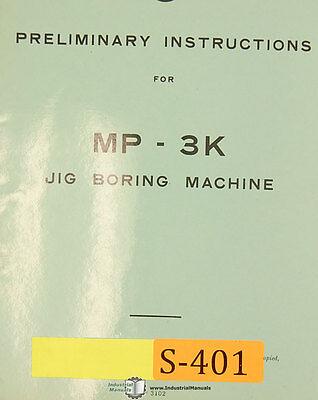 Sip Mp-3k Jig Boring Machine Preliminary Instructions Manual