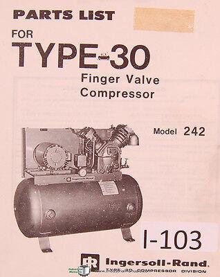 Ingersoll Rand Model 242 Type 30 Finger Valve Compressor Parts Manual 1976