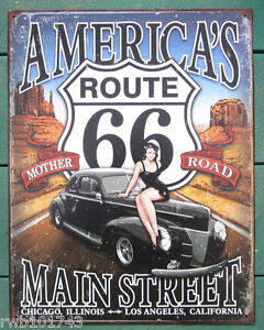 Route 66 America's Main Street Pinup TIN SIGN vtg car garage bar wall decor 1957