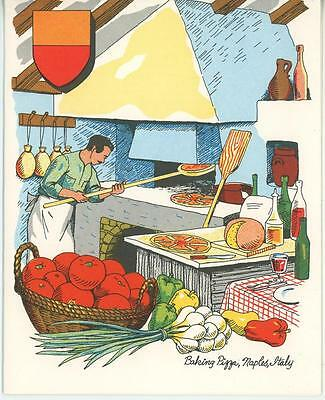 VINTAGE PIZZA TOMATO CHEF COOKING ITALY STONE BRICK OVEN 1 PINK HOLLYHOCKS CARD