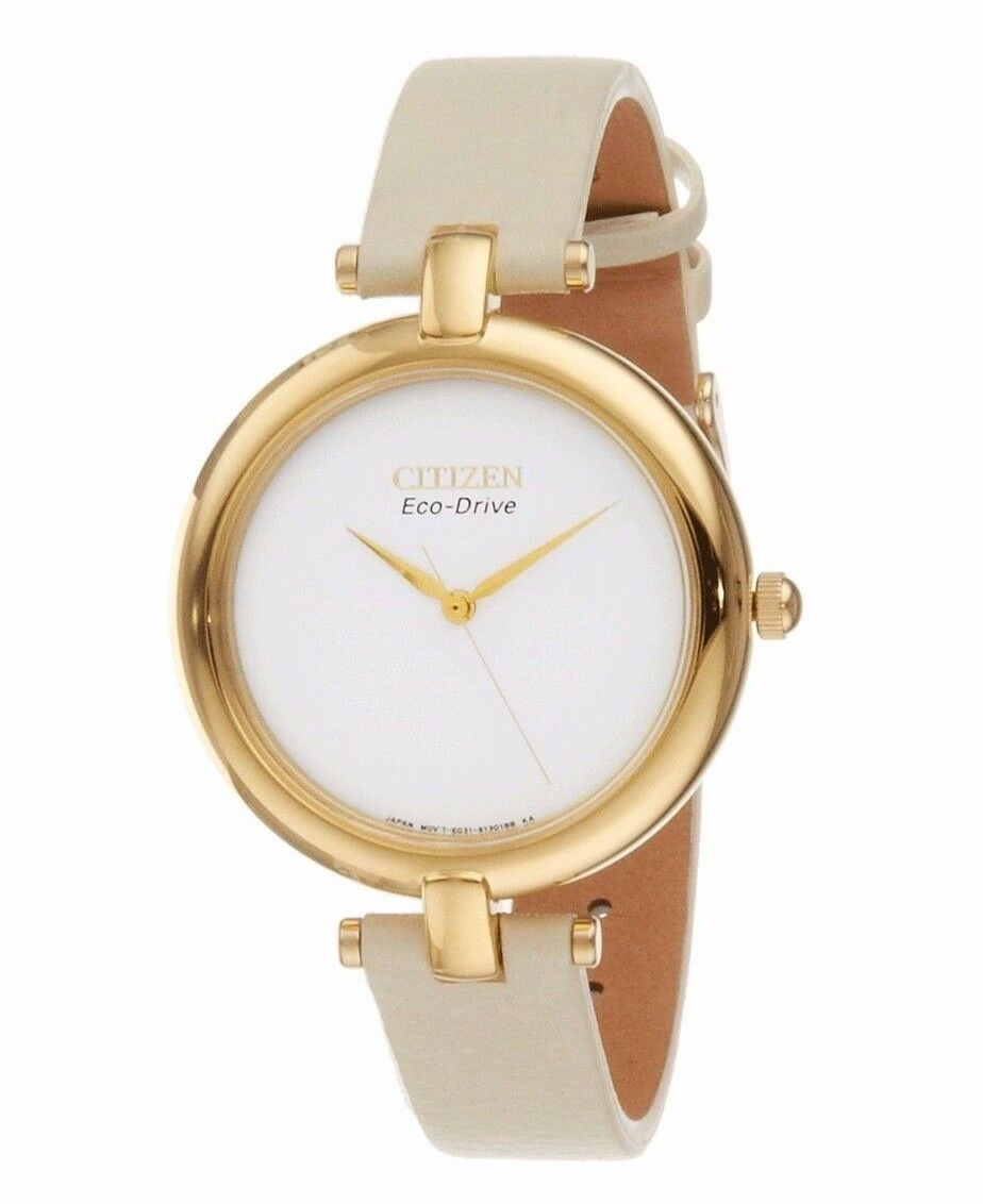 Citizen Eco Drive Women\s EM0252 06A Silhouette White Leather Strap Watch
