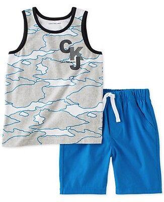 Calvin Klein NWT 18M Baby Infant Boy 2pc Muscle Tank Tee Short - Muscle Boy