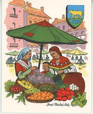 VINTAGE GARDEN GRAPES VEGGIE MARKET RAVIOLI RECIPE PRINT 1 CAPE COD XMAS CARD (Vegetable Ravioli)