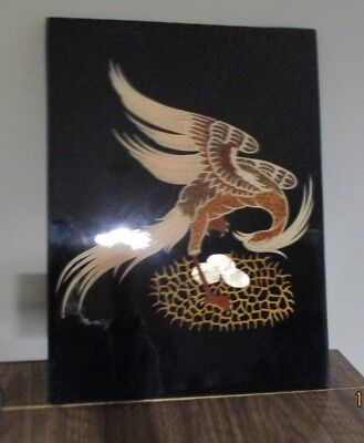 "Vintage laquer bird wall plaque 15.5""tall 11.5""wide"