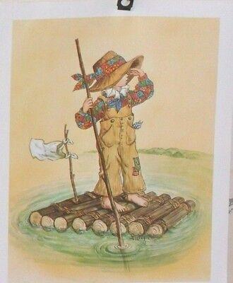 "Vintage Decoupage Sheet 7 x 8 3/4""- Girl on Raft"