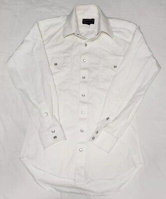 Schaefer High Lonesome Pearl Snap Western Cowboy City Fit Shirt White Size S