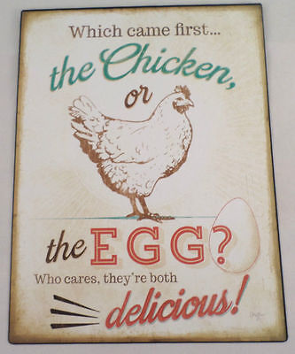 Which Came 1St Chicken Or Egg Who Cares Both Great Metal Wall Kitchen Decor Sign