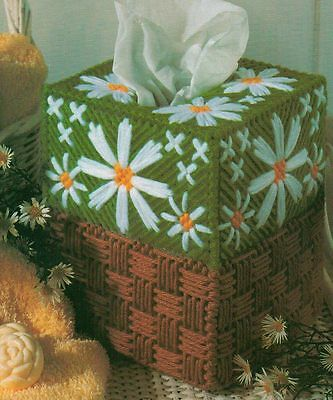 DELIGHTFUL DAISIES TISSUE BOX COVER PLASTIC CANVAS PATTERN INSTRUCTIONS