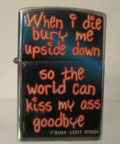 "Novelty Lighter, ""When I Die, Bury Me Upside Down, etc"", NOT a Zippo"