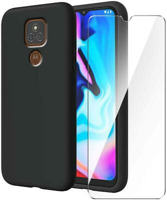 Per Motorola Moto E7 Custodia, Slim Nero Anti-urto TPU Cover Cellulare + Vetro