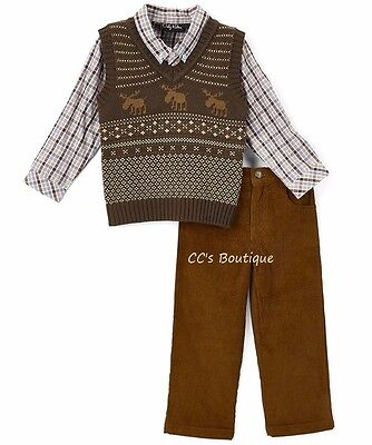 Boys ONLY KIDS outfit 2T 3T 4T NWT moose vest plaid dress shirt brown pants