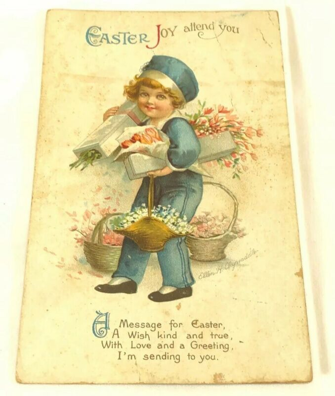 Antique Vintage Post Card Easter Greeting Artist Signed Ellen Clapsaddle