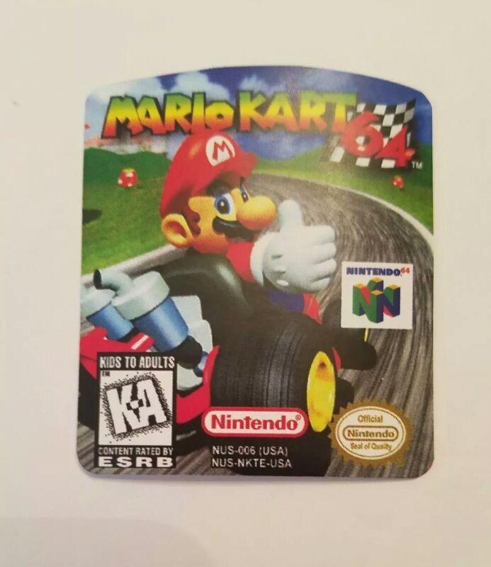 Mario Kart 64 N64 Cartridge Replacement Game Label Sticker