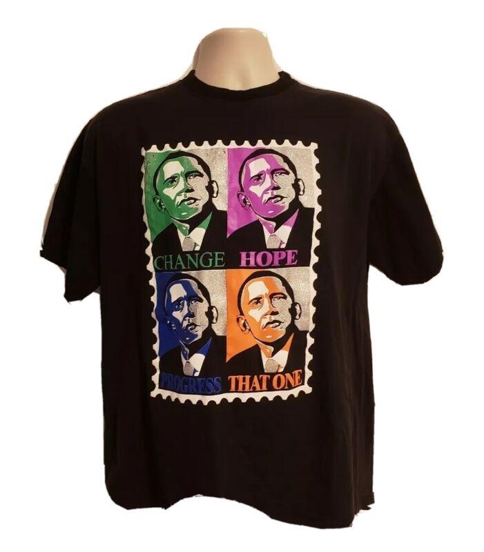 Obama Change Hope Progress That One Adult Large Black TShirt