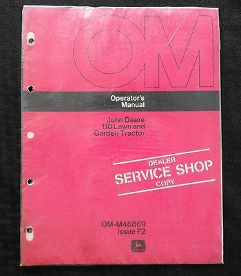 1963-64 John Deere 110 Pan Seat Lawn Tractor Operators Manual Sealed 001-2551