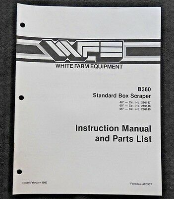 White Field Boss Tractor B360 Standard Box Scraper Operators Parts Manual