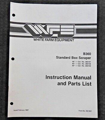 White Field Boss Tractor B360 Standard Box Scraper Operators Parts Manual