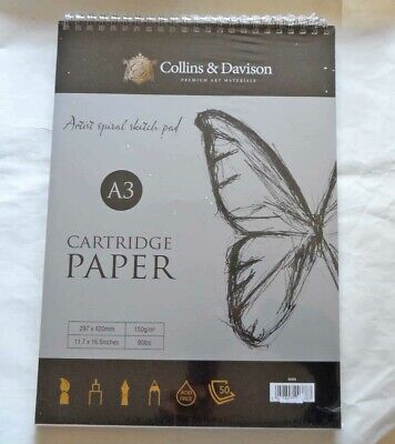 Collins and Davison Artists Spiral Sketch Book. Cartridge paper. A3 size. New..