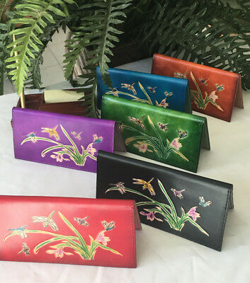 Leather Checkbook Cover, Dragonflies & Iris Flower Pattern Embossed, More color (Leather Embossed Checkbook Cover)