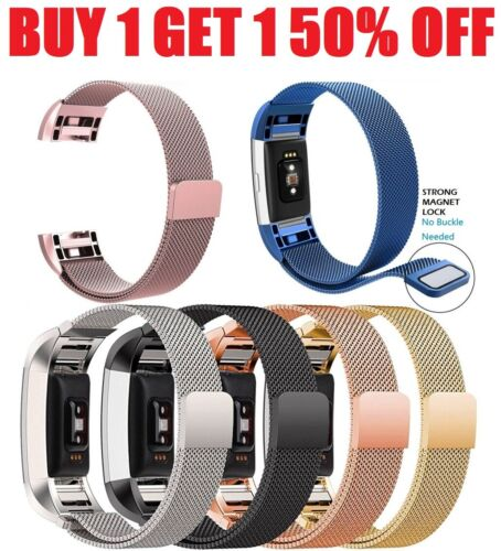 For Fitbit Charge 2 Magnetic Milanese Stainless Steel Band Strap Replacement New Fit Tech Parts & Accessories