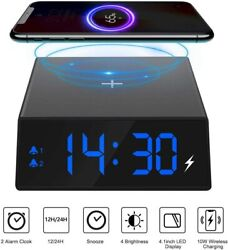 2 in 1 QI Wireless Charger LED Alarm Clock For iPhone 11 Pro X XR XS Max 8 plus