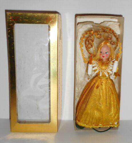 Vtg Christmas ANGEL TREE TOPPER Lighted Gold Dress 10.5 Inch Original Box Japan