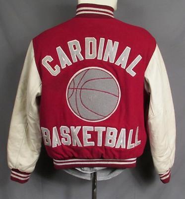 Vintage Kardinal H.S.Varsity Jacke Leder Ärmel Basketball Chenille Patch Varsity Jacke Patches