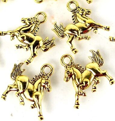 25 Galloping Horse Running Charms Antique Gold Pewter Western Charm 16x14mm