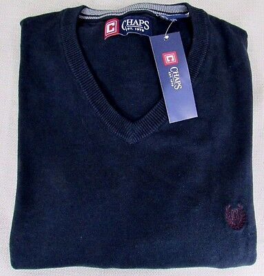 CHAPS by RALPH LAUREN Men's Classic Fit Solid V-Neck Sweater Navy XL NEW
