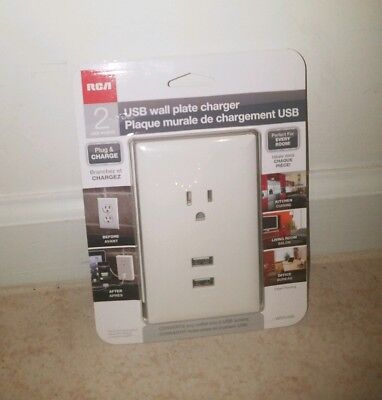 RCA USB Wall Plate Charger 2 Ports WP2UWR Wp2 Wall Plate