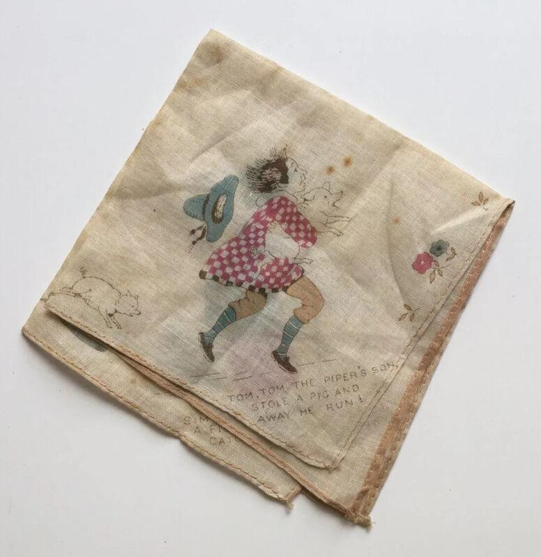 ANTIQUE VICTORIAN HANKY HANDKERCHIEF NURSERY RHYME PRINTED CLOTH