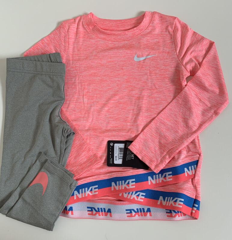 NWT Nike Lilltle Girls 2 Piece Shirt & Legging Set Grey Heather Sz 6X