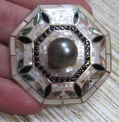 Mosaic Mother-of-pearl/ 11mm Tahitian Pearl & Blk Spinel strlng JTV pendant - Black Pearl Mosaic