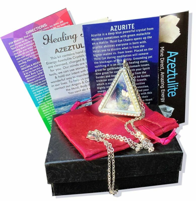 Azeztulite & Azurite Locket with Certificate of Authenticity Gift Box